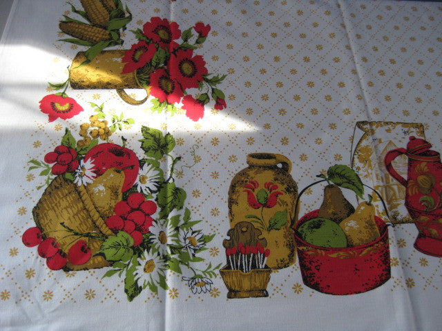Red Tan 60s Colonial Kitchen Novelty Vintage Printed Tablecloth (65 X 52)