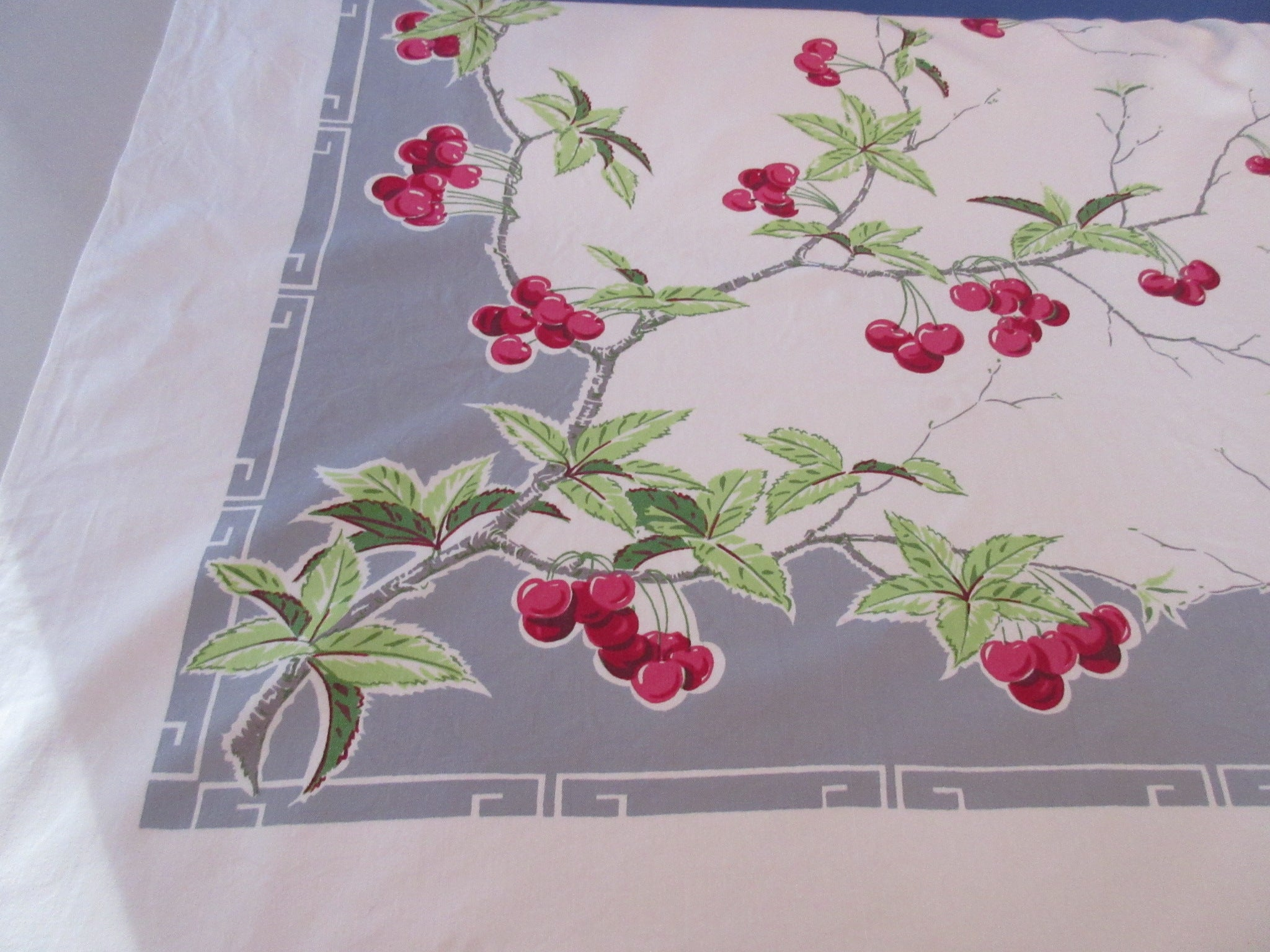 Yummy Cherries on Gray Fruit Vintage Printed Tablecloth (50 X 45)