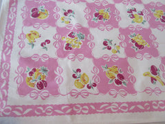 Fruit Bows on Pink Topper Napkins Vintage Printed Tablecloth (36 X 35)