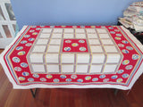 Primary Fruit Flower Circles Plaid on Red Vintage Printed Tablecloth (49 X 47)