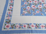 Pink Green Dogwood on Blue Floral Cutter? Vintage Printed Tablecloth (53 X 46)