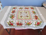 60s Flowers on Gray Topper Vintage Printed Tablecloth (33 X 32)