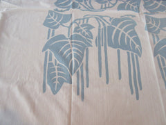Block Printed Blue Leaf Leaves Novelty Vintage Printed Tablecloth (46 X 45)