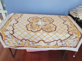 Shabby Gold Brown Dutch Dancers Novelty Vintage Printed Tablecloth (47 X 45)