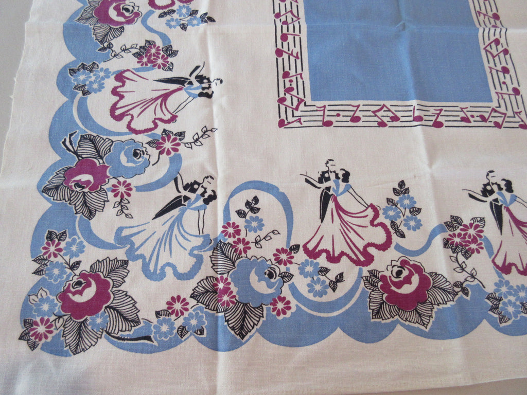Fred and Ginger Dancing on Blue Topper Novelty Vintage Printed Tablecloth (35 X 31)