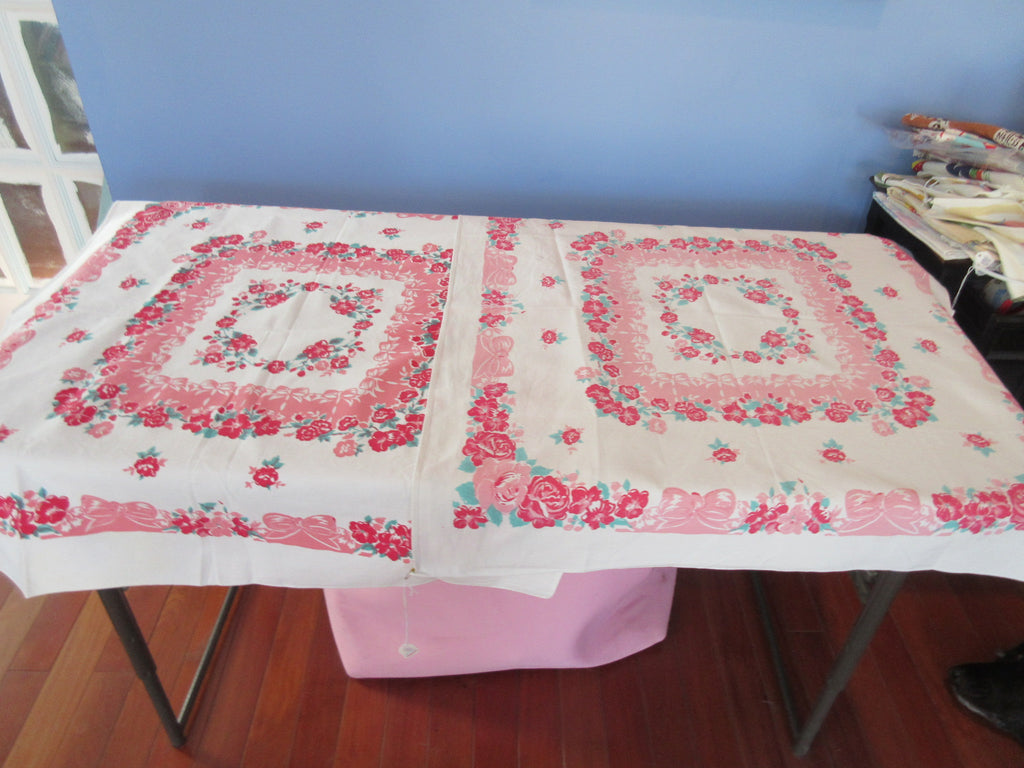 PAIR Red Green Roses on Pink Bows Topper Novelty Vintage Printed Tablecloth (34 X 30)