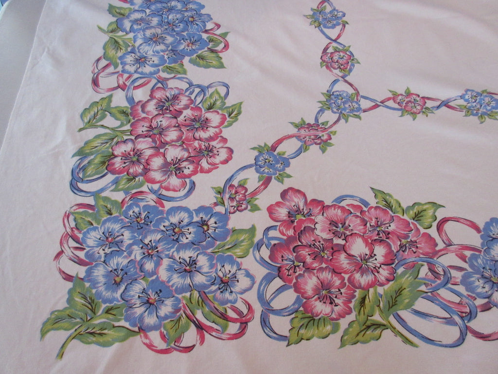 Springy Pink Blue Flowers Ribbons Cutter? Floral Vintage Printed Tablecloth (51 X 45)