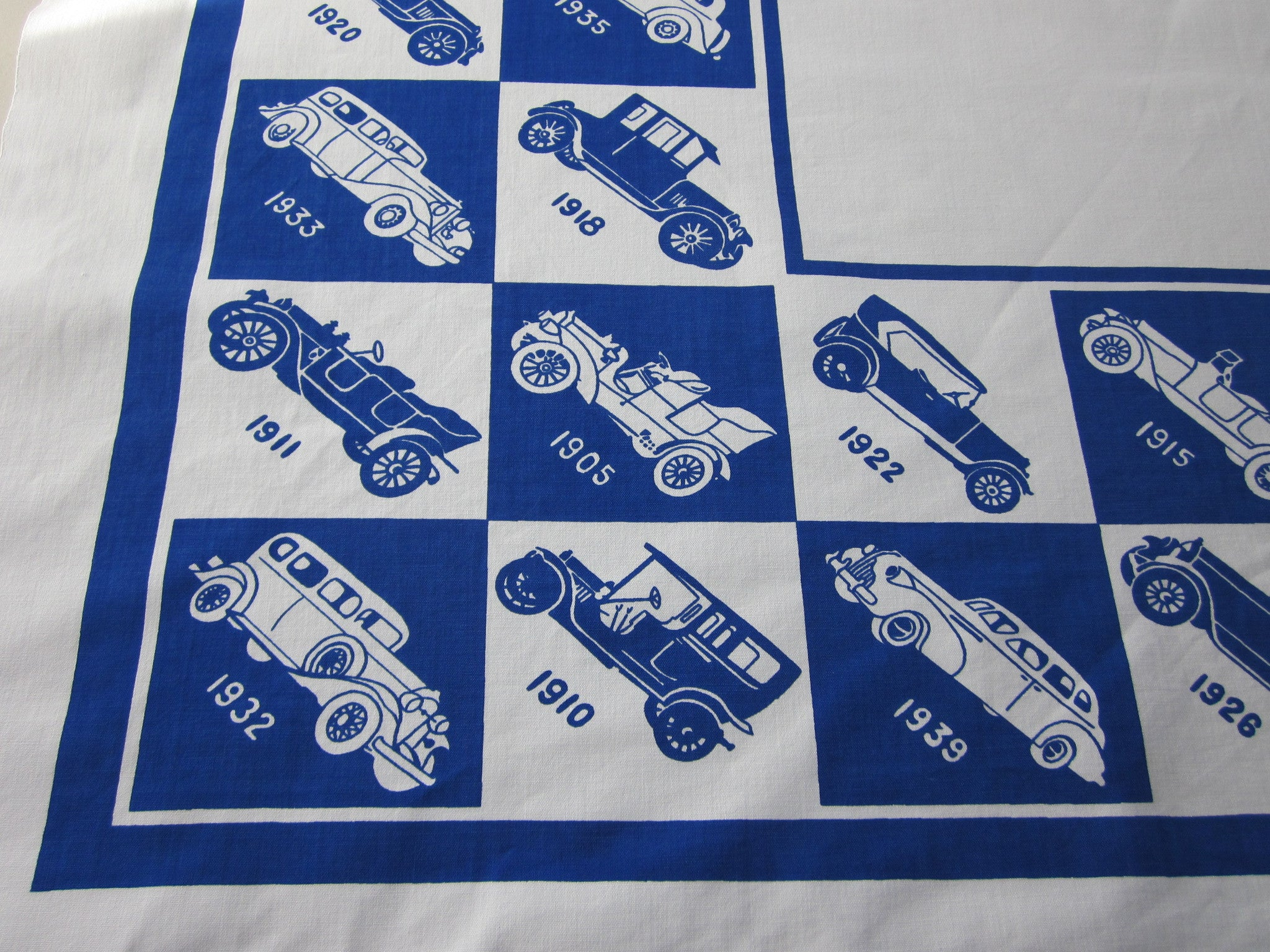 Antique Cars on Cobalt Blue Novelty Vintage Printed Tablecloth (52 X 52)