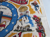 Rare United States Army Militaria Novelty Unused Post WW2 Vintage Printed Tablecloth (35 X 34)