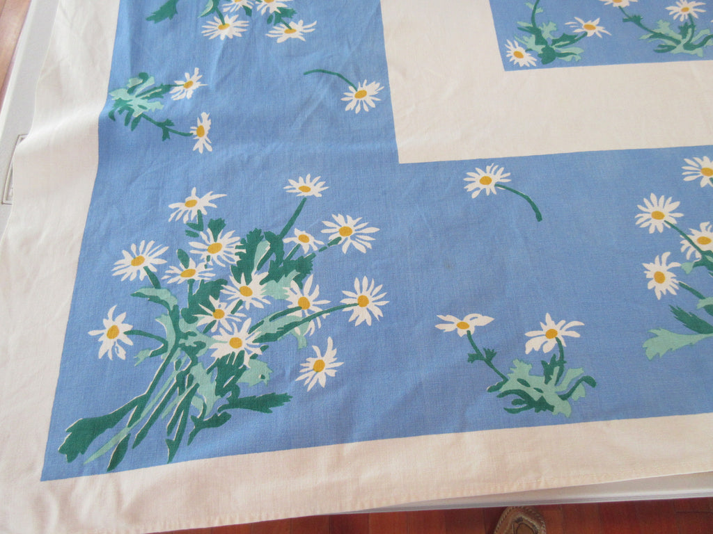 Heavier White Yellow Daisies on Blue Floral Vintage Printed Tablecloth (53 X 45)
