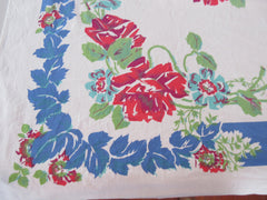 Red Aqua Roses on Cobalt Blue Floral Vintage Printed Tablecloth (51 X 49)