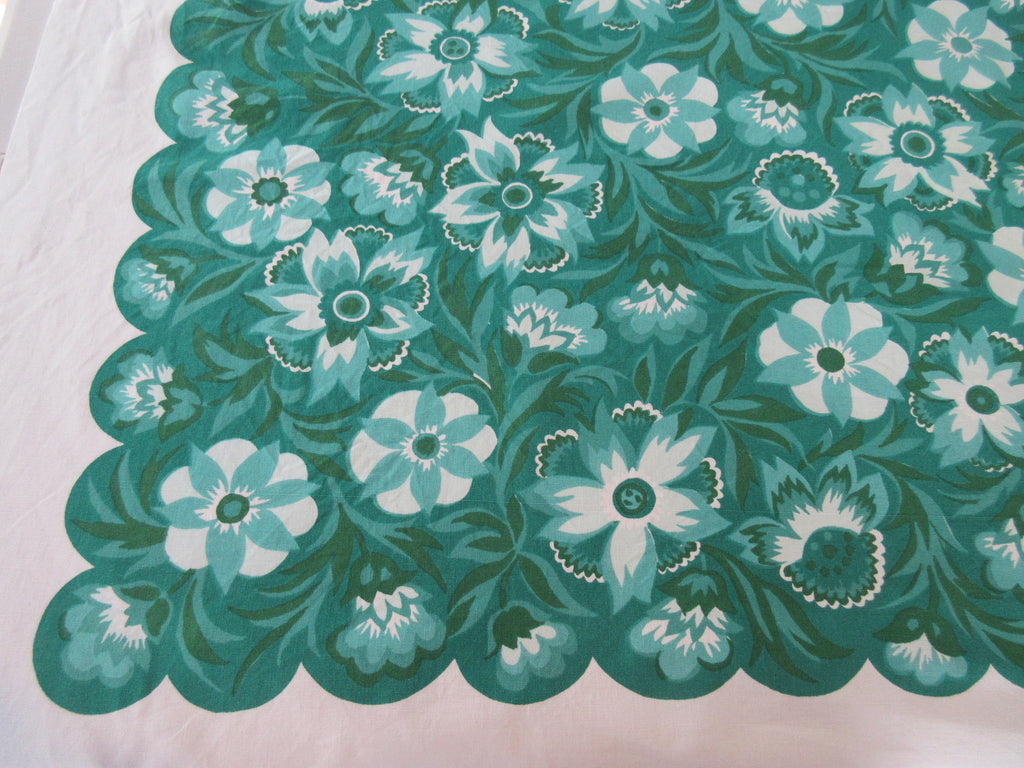 Irish Emerald Green Wilendure Floral Vintage Printed Tablecloth (52 X 50)