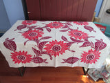 Bold Fall Sunflowers Red Magenta Floral Vintage Printed Tablecloth (48 X 44)