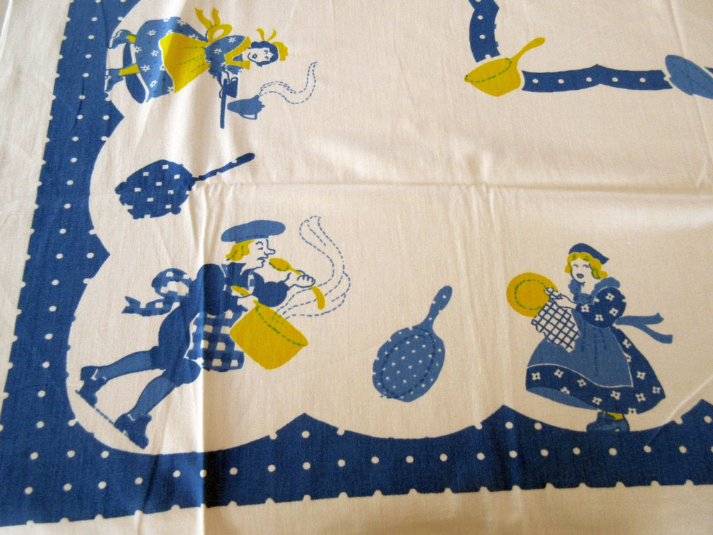 Whimsical Blue Yellow Chefs Polkadots Novelty Vintage Tablecloth (51 X 44)