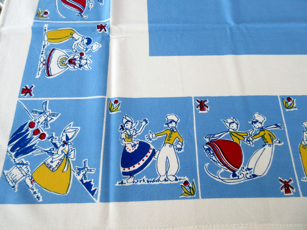 Unusual Blue Courting Dutch Kids Novelty Vintage Printed Tablecloth (51 X 48)