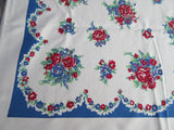 Larger Primary Petite Red Blue Green Floral Vintage Printed Tablecloth (64 X 51)