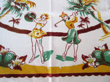 Rare Florida Pinup Bathing Beauty Ladies Novelty Vintage Printed Tablecloth (50 X 46)