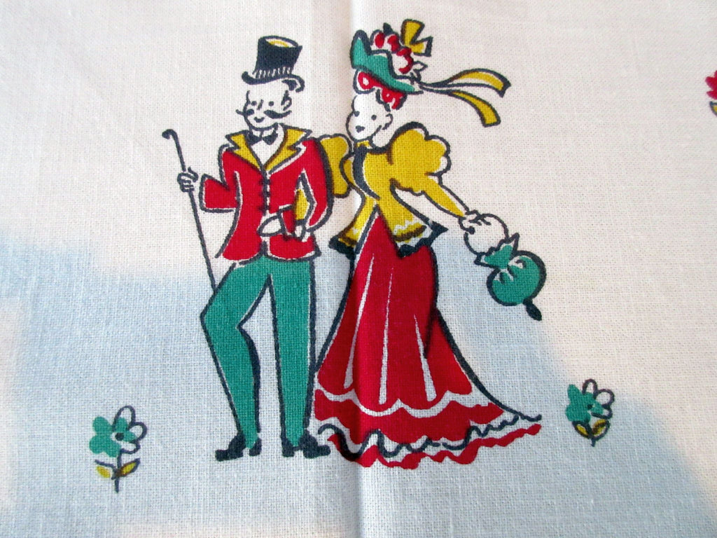 Broderie Courting Couples Gay 90s Green Novelty Vintage Printed Tablecloth (66 X 52)