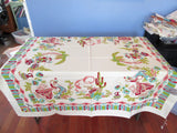 Unusual Pastel Southwest Mexican Ladies MWT Novelty Vintage Printed Tablecloth (52 X 51)