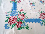 Shabby Pink Green Chrysanthemums on Blue Floral Vintage Printed Tablecloth (51 X 46)