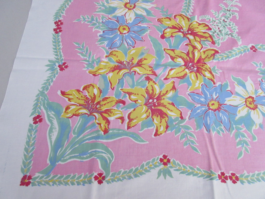 Pastel Yellow Blue Flowers Swags on Pink Cutter? Floral Vintage Printed Tablecloth (49 X 47)