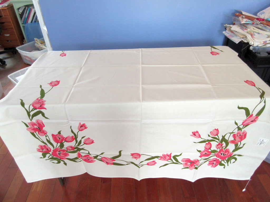 Larger Wilendure Pink Tulips Arc Floral MWT Vintage Printed Tablecloth (70 X 52)