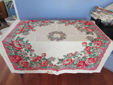 Red Green Roses on Deep Pink Floral MWT Vintage Printed Tablecloth (50 X 50)