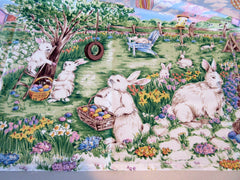 Easter Egg Hunt Bunnies MWT Novelty Retro Printed Tablecloth (68 X 51)