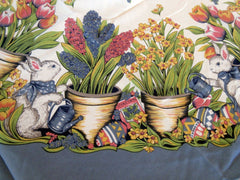 ROUND Easter Bunny Gardening NOS Retro Printed Tablecloth (72 X 69)