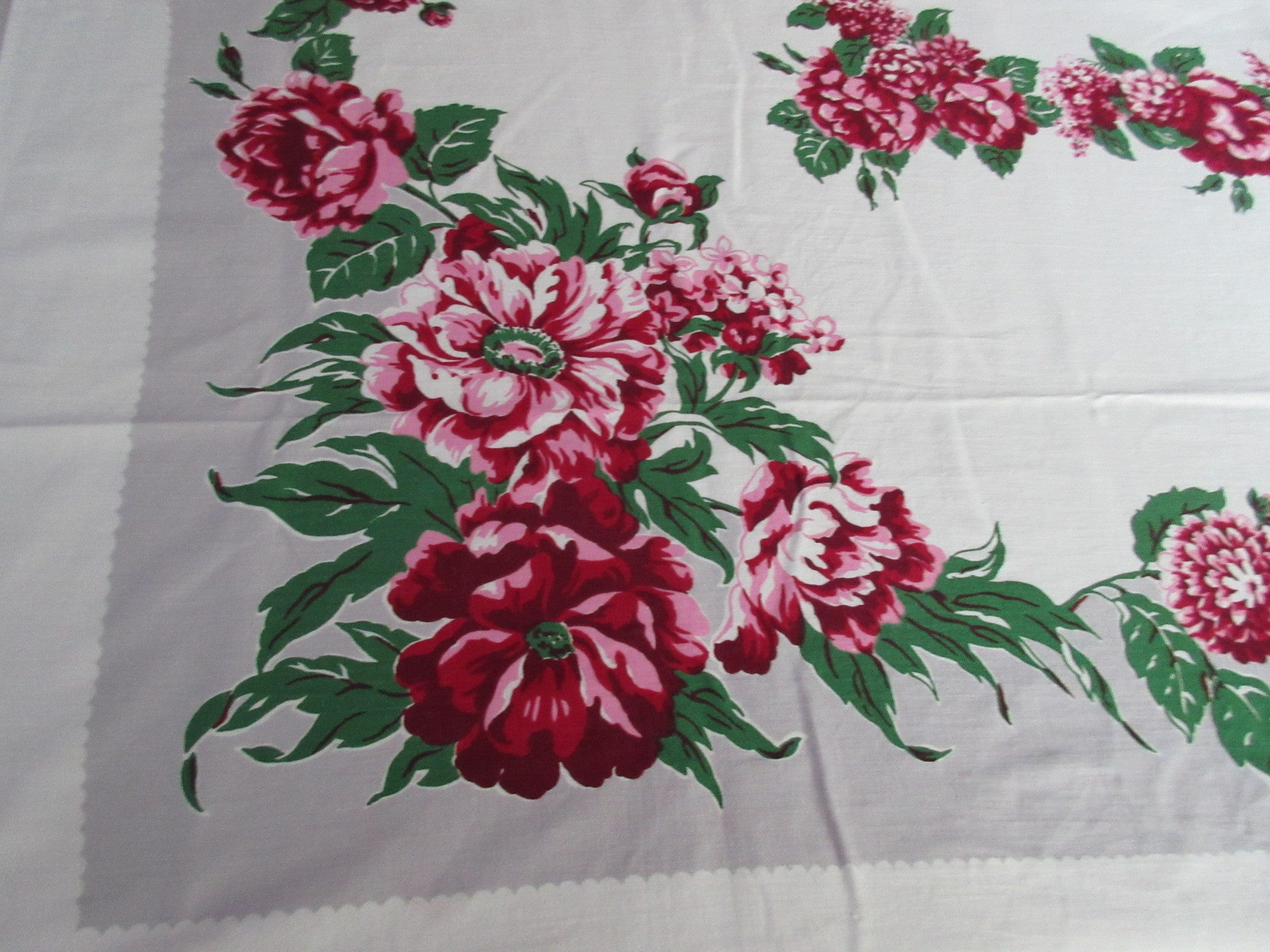 Pink Green Peonies on Gray Floral Vintage Printed Tablecloth (66 X 51)