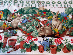 Spring Gardening Easter Bunnies MWT Novelty Retro Printed Tablecloth (69 X 52)