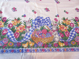 Blue Gingham Easter Bunnies NOS Novelty Retro Printed Tablecloth (70 X 52)