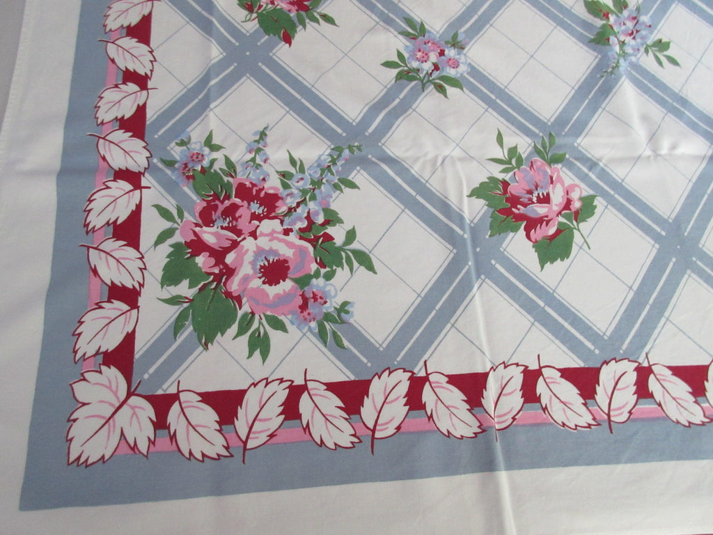 Pink Green Roses on Gray Plaid Floral Vintage Printed Tablecloth (63 X 53)