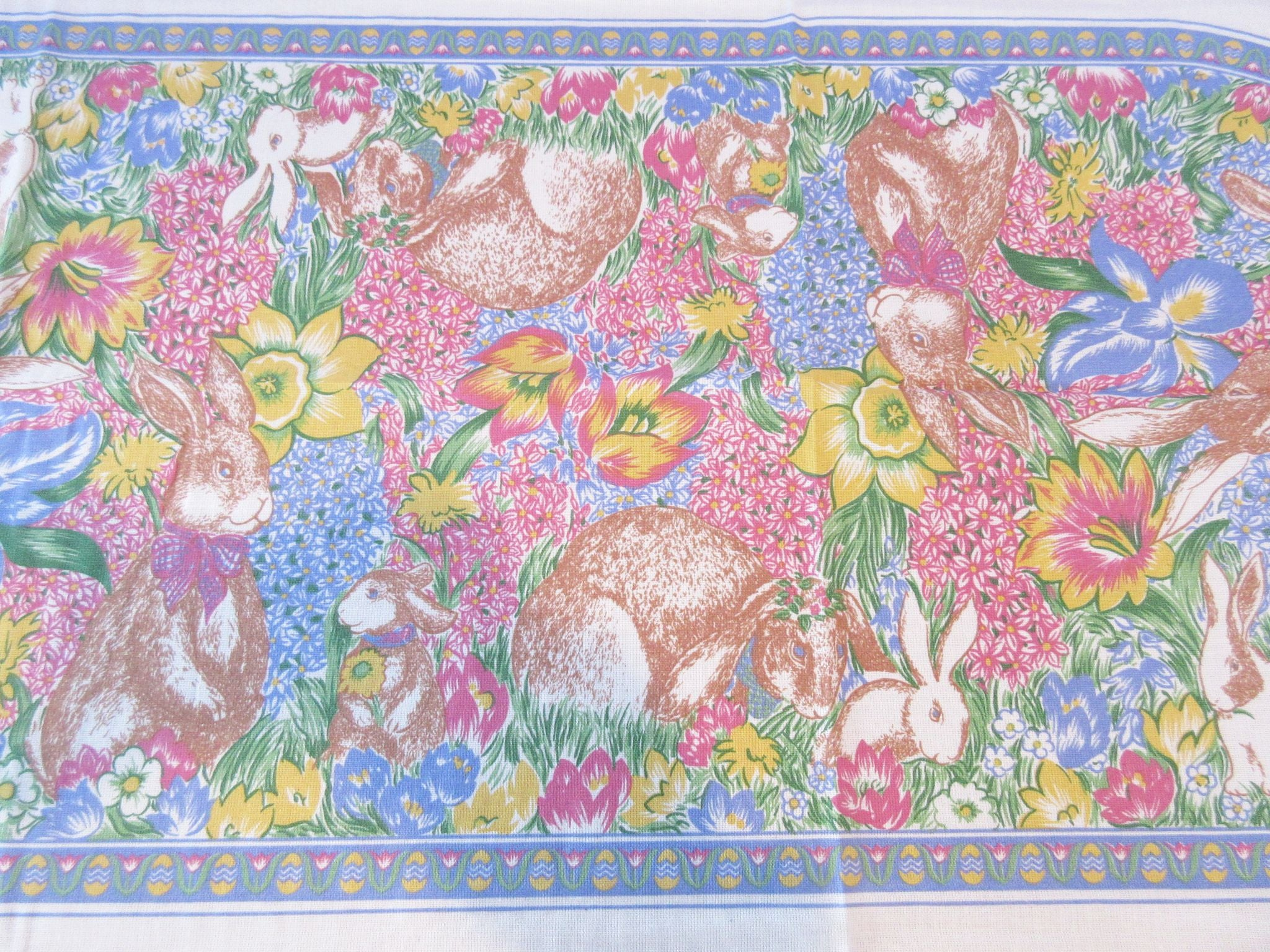 Easter Bunnies and Daffodils NOS Novelty Retro Printed Tablecloth (70 X 52)