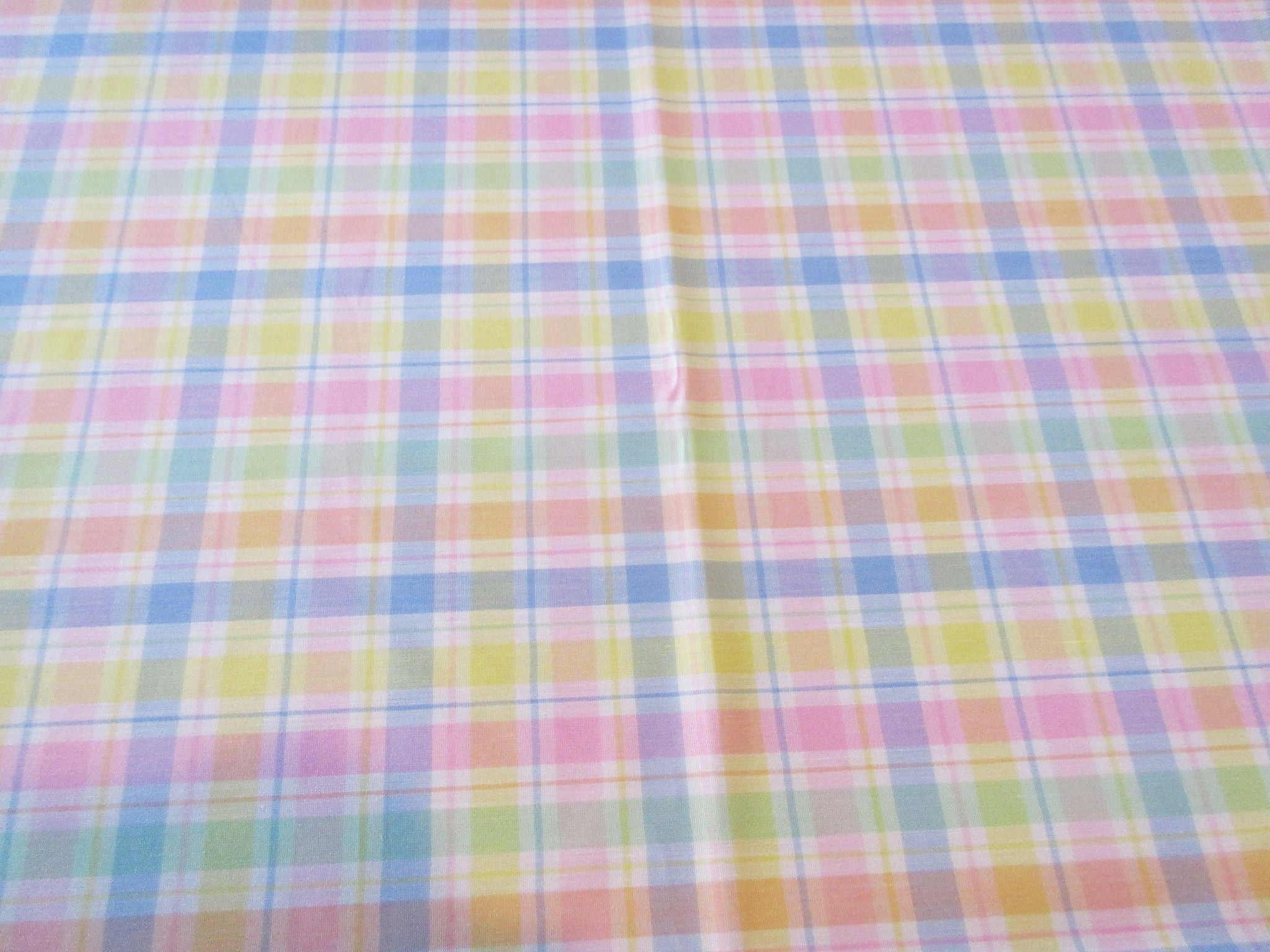 Bright Spring Easter Plaid Pink Blue MWT Novelty Retro Printed Tablecloth (85 X 60)