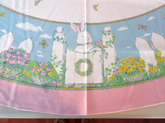 ROUND Easter Bunny Fences MWT Novelty Retro Printed Tablecloth (70 inches ROUND)