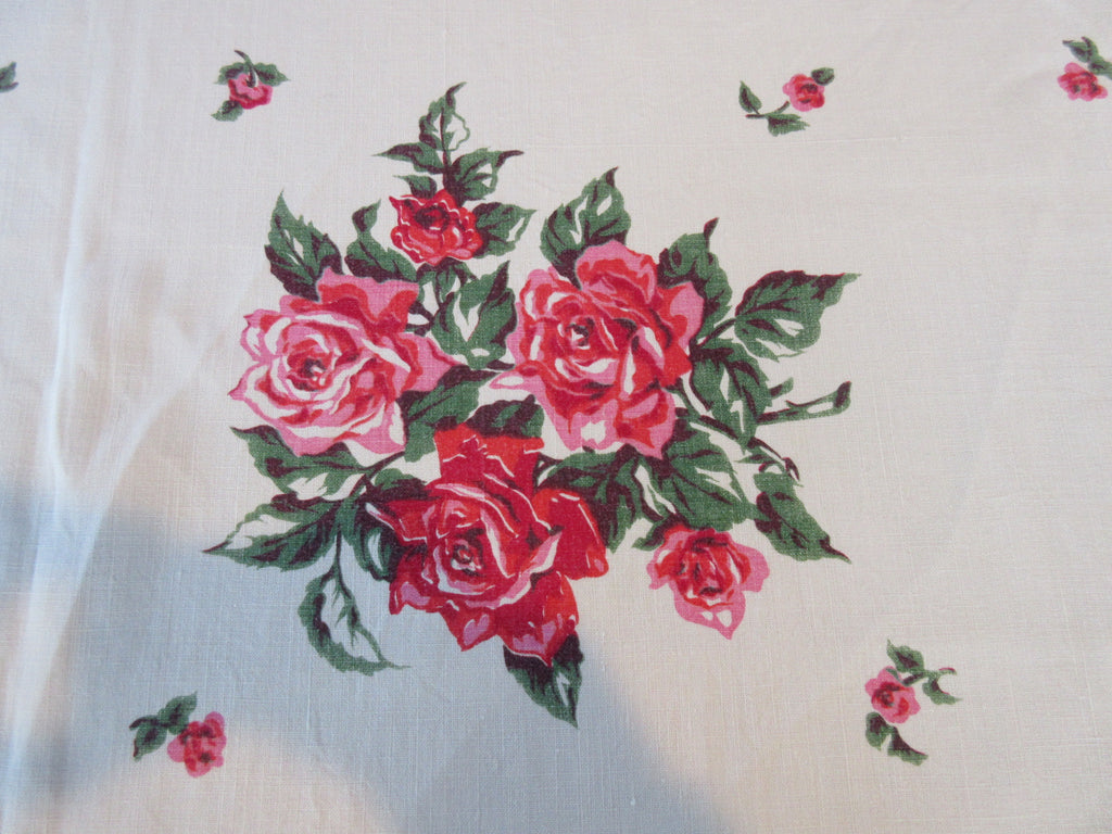 Pink Red Roses Array Linen Floral Vintage Printed Tablecloth (65 X 49)