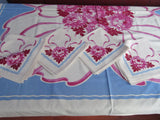 Pink Chrysanthemums Ribbons on Blue Floral Napkins Vintage Printed Tablecloth (53 X 49)