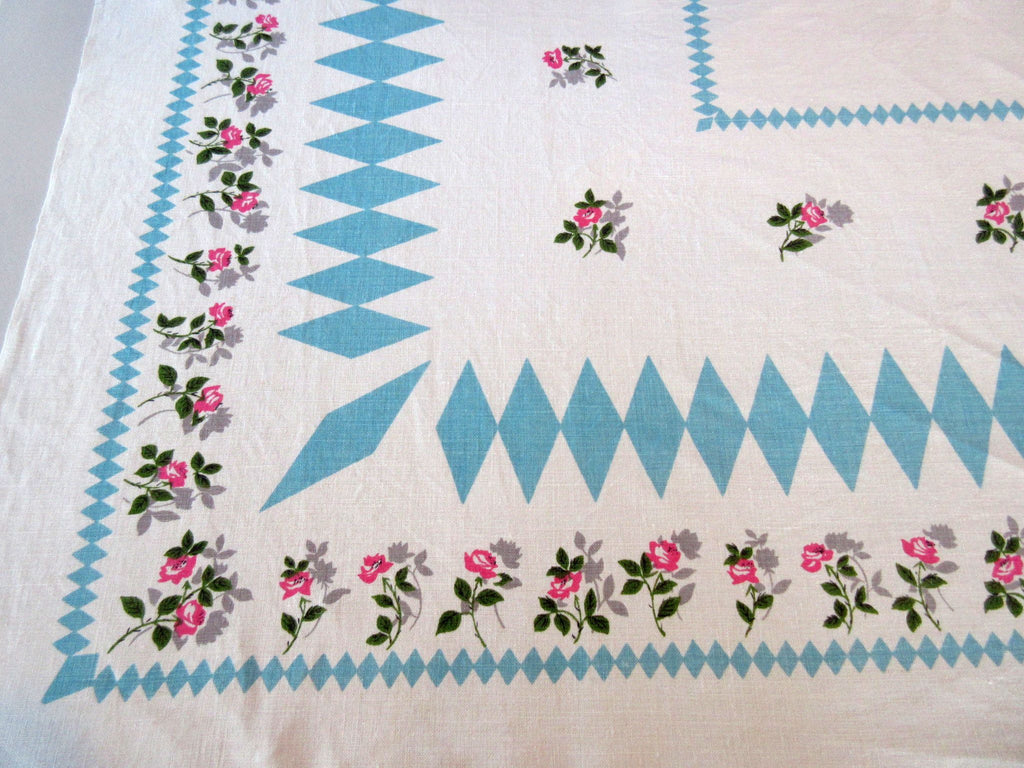 Pink Roses Turquoise Diamonds Linen Floral Vintage Printed Tablecloth (51 X 48)