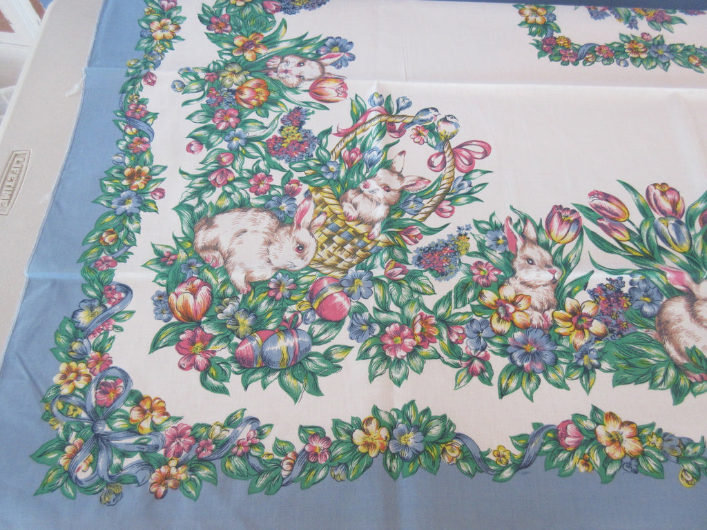 SQUARE Easter Bunny on Blue NOS Retro Printed Tablecloth (53 X 53)