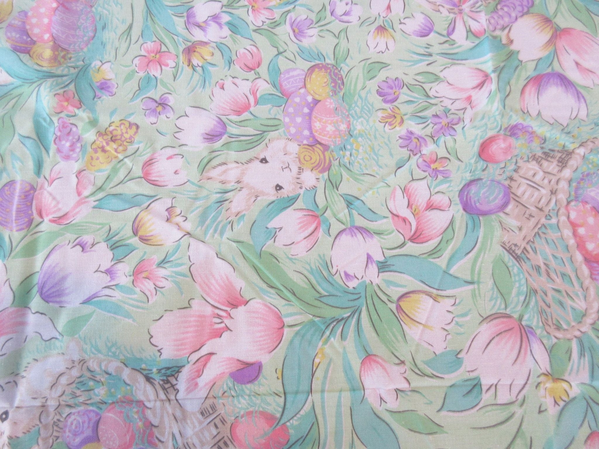 Copy of a Pastel Tulips Eggs Easter Bunny MWT Retro Printed Tablecloth (70 X 51)