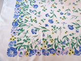 Springy Pastel Morning Glories Floral Vintage Printed Tablecloth (52 X 49)