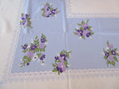 Purple Pansies on Periwinkle Floral Vintage Printed Tablecloth (61 X 52)