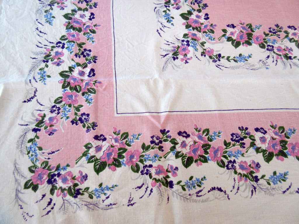 Blue Purple Flowers on Pink Linen Floral Vintage Printed Tablecloth (50 X 47)