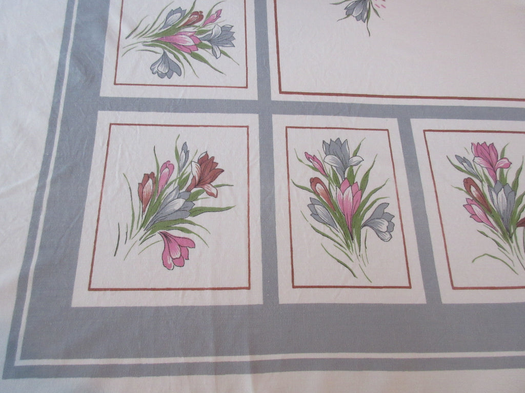Large Pastel Crocus on Gray Floral Vintage Printed Tablecloth (76 X 60)