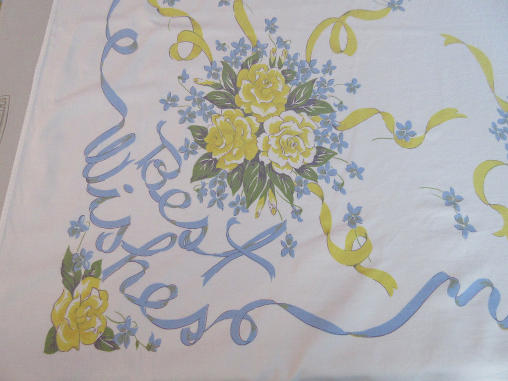 HTF Blue Yellow Congratulations Best Wishes Ribbons Novelty Vintage Printed Tablecloth (60 X 54)