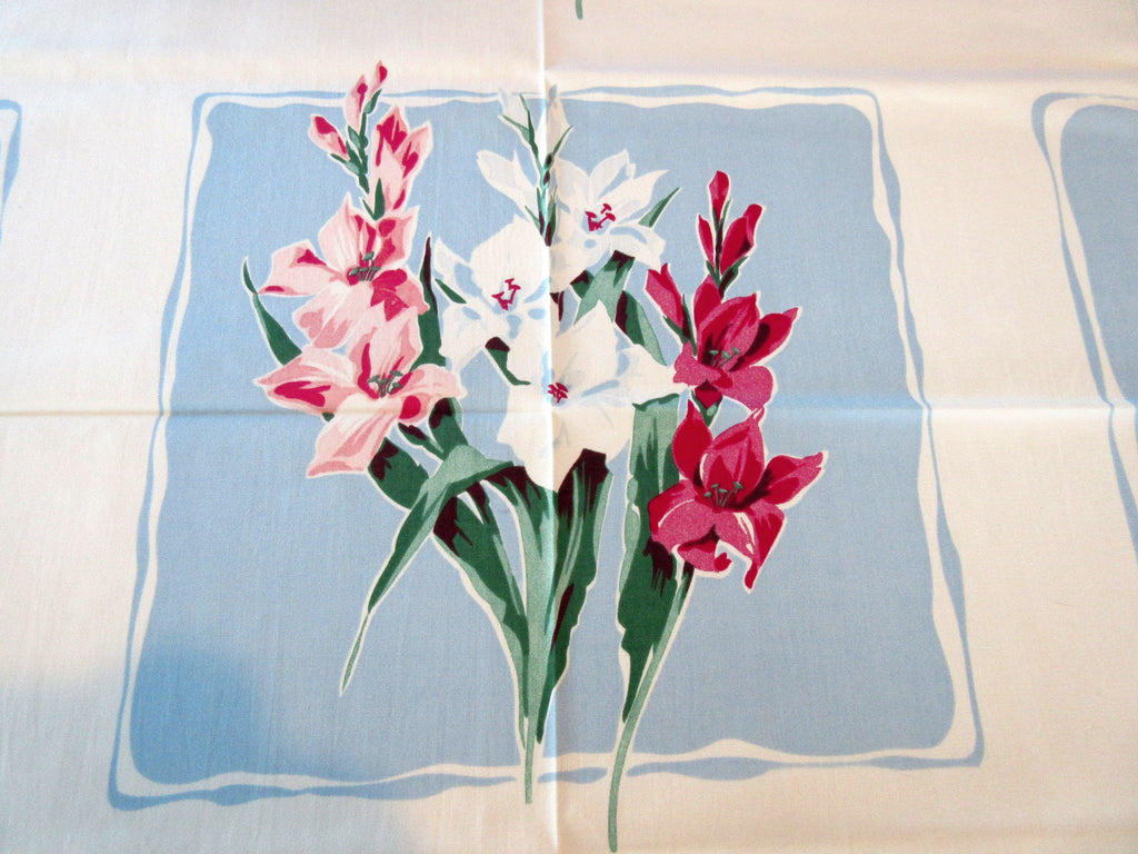 Pink Magenta Gladioli on Blue MWT Napkins Floral Vintage Printed Tablecloth (55 X 49)