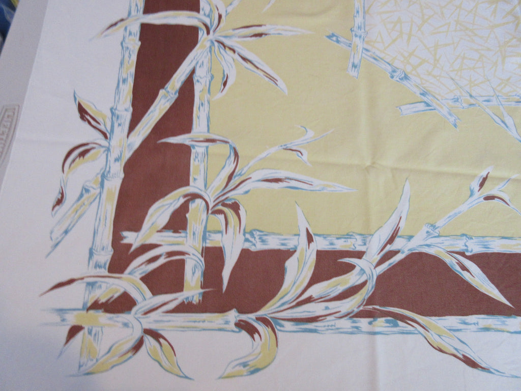 Faded Fall Bamboo Brown Gold Cutter? Novelty Vintage Printed Tablecloth (51 X 45)