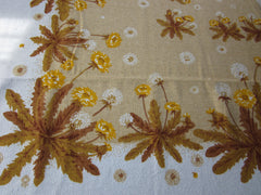 Large Terry Gold Dandelions Floral NWOT Vintage Printed Tablecloth (88 X 58)
