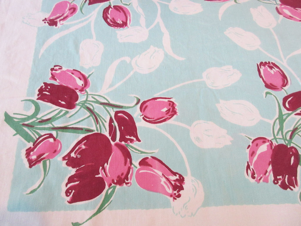 Pink Magenta Tulips on Aqua Floral Vintage Printed Tablecloth (50 X 47)